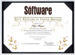 IEEE Software Best Research Paper Award at Agile 2011